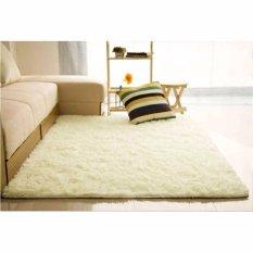 Karpet Bulu kasar anti-selip tikar/karpet permadani yang menutupi lantai 150 cm x 100 cm (Putih)