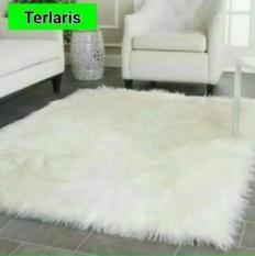 Karpet bulu korea putih 130cm x 100cm bisa dicuci