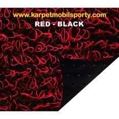 Karpet Lantai Meteran Mie Bihun Bahan 2 Warna - Merah Hitam (Red Black)