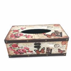 KAT Decorative Retro Vintage Design Hinged Refillable Tissue Box Holder Cover - Tempat Tissue Corak Antik Jadul Kuno - Butterfly