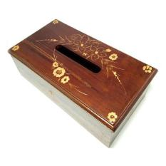 Kerajinan Jogja Tempat/Kotak Tisu Kayu Jati Ukir - Coklat
