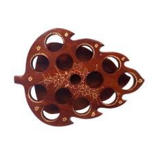 Kerajinan Kayu Jati Tatakan aqua Gelas Model Daun