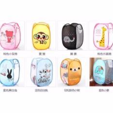 Keranjang Laundry Bag Lipat Karakter Basket Baju Kotor Storage Motif Hello Kitty Doraemon Minion Minnie Rilakkuma Animal