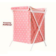 Keranjang Multifungsi Pink Polka