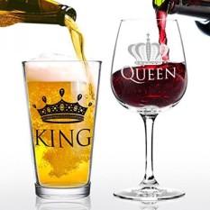 King Beer Queen Wine Glass Gift Set-Ide Bagus untuk Pernikahan Pengantin, Pernikahan, Pertunangan, Ulang Tahun, Pengantin Baru, dan Pasangan-Ayah, Dia, Tuan dan Nyonya-Hadiah untuk Ibu (Set Of 2)-Intl