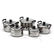Kingko America High Pots Panci Set 5 Buah - Silver