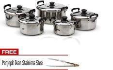 Kingko America High Pots Panci Set 5 Buah - Silver + Gratis Jepit Ikan Stainless Steel
