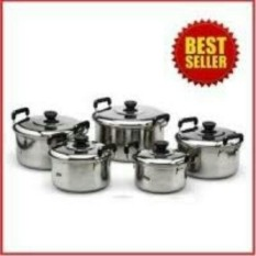 Kingko Panci Set Stainless Cookware Pot 5pcs Panci + 5Pcs Tutup Stainless