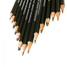 KINSO 14 Stück Skizze Pensil Seni Graphitstifte Set Kizze Kunst Zeichnung Bleistift 12B, 10B, 8B, 7B, 6B, 5B, 4B, 3B, 2B, B, HB, 2 H, 4 H, 6 H-Intl