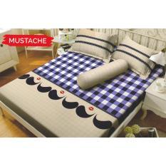 Toko Kintakun Dluxe Mustache Sprei Set Single 120X200X20Cm 1 Sarung Bantal 1 Sarung Guling Kintakun