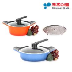 [Dapur Art Pot Set] Dua Tangan Pot 20 Cm + Stew Pot 28 Cm/Logam Dicor/ Lapisan Keramik/memasak Pot/penggorengan/Korea Nomor Satu Pot