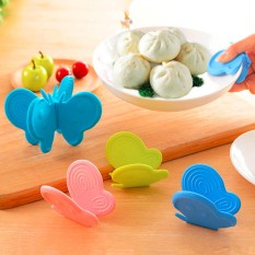 kitchen butterfly shape magnet silikon microwave oven dish non-slip clip anti-hot finger protector gripper pot holder decoration - intl