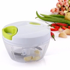 Dapur Helikopter Mini Makanan Menarik Processor-untuk Sayuran Buah, Bawang Putih, Ramuan, Bawang Merah, tarik Alat Pengiris Pemotong Alat Blender (2 Pisau)-Putih-Intl