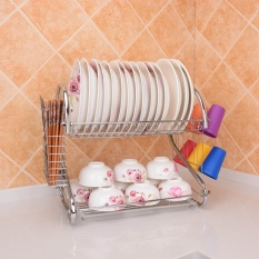 Jual Kebutuhan Dapur 304 Stainless Steel Double Layer Bowl Rak Dish Rack Drain Rack Drip Stand Shelf Storage Rack