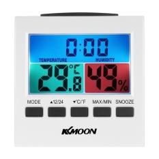 KKmoon LCD Digital Indoor Thermometer Hygrometer Suhu Kelembaban Meter Jam dengan Lampu Latar Snooze Alarm Clock