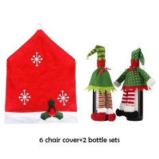kobwa 6 Christmas Chair Covers And 2 Packs Wine Bottle Covers For Holiday Party Festival Christmas Kitchen Dining Room Chairs And Wine Bottles, Red - intl