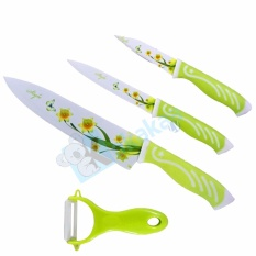 Ecomax Pisau Set Ceramic Lengkap 3 Ceramic Coated Knives Plus 1 Peeler Bundle Set By Kokakaa Living.