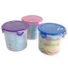 Kotak Makan Toples Plastik Bulat Sealware Lock Four 1.3L
