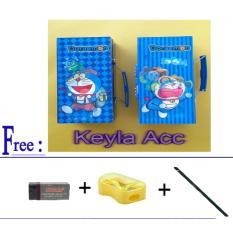 Kotak pensil kode doraemon +Free 1 pcs penghapus+1pcs rautan+1pcs pensil joyko
