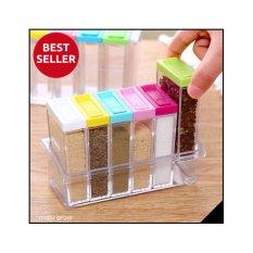 Kotak Rak Tempat Bumbu Garam Merica Plastik Transparan 6 in 1