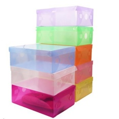 kotak sepatu plastic box shoes transparant sandal warna warni - PAKET ISI 7