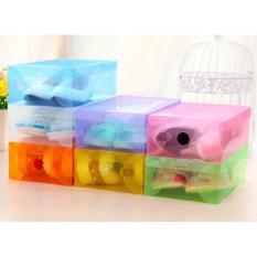 Kotak Sepatu Shoes Box Transparan Warna Warni Set Isi 6 Buah Rak Sepatu Murah Tempat Sepatu Murah Wadah Penyimpanan Sepatu Kotak Sepatu Murah Rak Sepatu Plastik Rak Sepatu Lipat - Multicolour