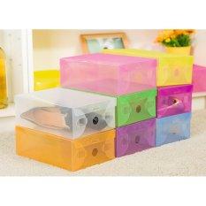Kotak Sepatu Shoes Box Transparan Warna Warni Set Isi 8 Buah Rak Sepatu Murah Tempat Sepatu Murah Wadah Penyimpanan Sepatu Kotak Sepatu Murah Rak Sepatu Plastik Rak Sepatu Lipat - Multicolour