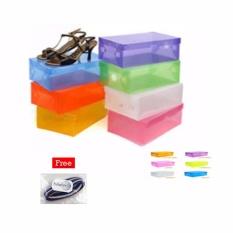 Jual Kotak Sepatu Transparan Warna Warni Multicolour Transparent Shoe Box Buy 1 Get 9 Free Free 1 Pcs Polkadope Ikat Rambut Lucky Asli