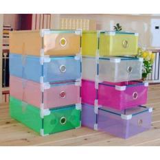 Kualitas Kotak Sepatu Transparan With Frame Warna Warni 4 Pcs Kotak Transparan