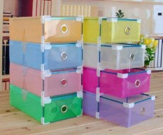 Toko Kotak Sepatu Transparan With Frame Warna Warni 5 Pcs Lengkap