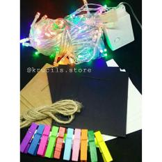 Harga Krucils Store Paket Tumblr Light Tumblr Light Frame Foto Wooden Clip Tali Rami Baru