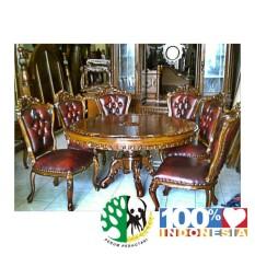 Kursi Makan Ukir Jati Palembang 1 Set