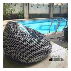 Kursi santai bean bag oval - garis hitam putih (Cover Only) / kursi pantai / furniture