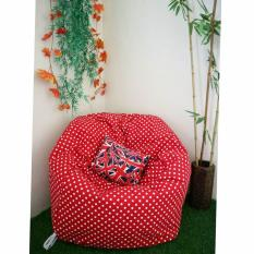 Kursi santai bean bag oval motif polkadot merah putih (Cover only) / kursi pantai / furniture