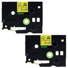 Label KINGDOM 2 Pack Kompatibel Brother HSE-631 HSE631 HS631 HS-631 11.7mm Hitam Di Yellow Heat Shrink Tube untuk PT-E300 PT-E500 PT-E550W PT-P750WVP Label Printer-Intl