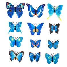 12 Buah 3D Butterfly Wall Sticker For Kulkas Dekorasi Rumah (biru) LALANG