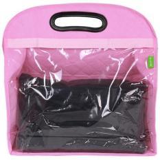 LALANG Gantung PVC Transparan Tas Penyimpanan Lemari Tas Berwarna Merah Muda