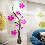 Harga Lalang Plum Vas Bunga Crystal Akrilik Stiker Dinding 3D Ruang Tamu Dekorasi Kamar Tidur Hotpink Di Tiongkok