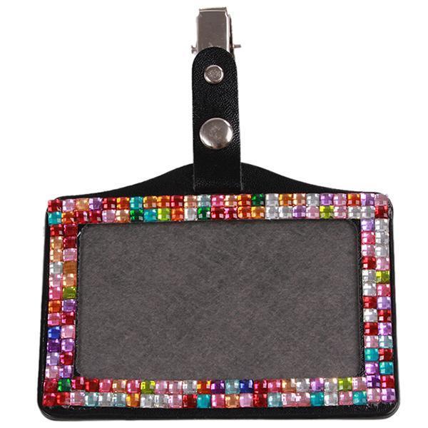 Price Checker LALANG Rhinestone Badge Lencana ID Kartu Holder Multicolor pencari harga - Hanya Rp35.
