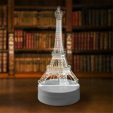 Lampu 3D LED Transparan Desain Eiffel Tower - White
