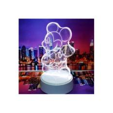 Jual Lampu 3D Led Transparan Design Mickey Mouse Putih Branded