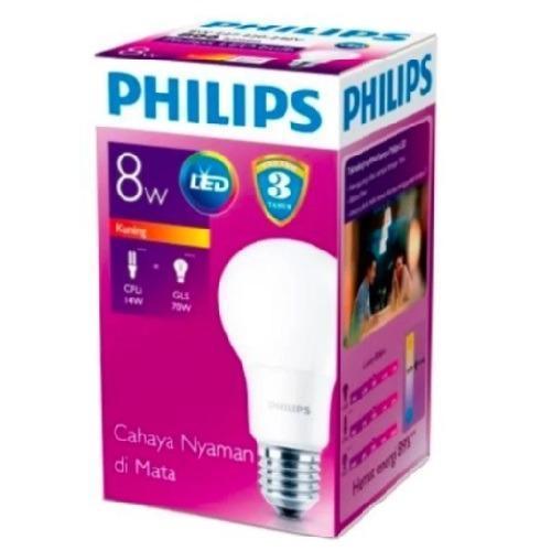 Lampu Bohlam Bulb LED Philips 8W - Warm White Kuning - 8 Watt