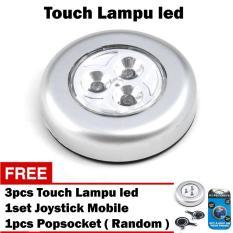 Lampu Emergency / Led Touch / Lampu Tempel / Touch Lamp Stick / Lampu Led Lemari Baju / Gudang / Lampu Belajar - Silver + Gratis 3pcs Lampu Led Touch + Joystick Mobile + Popsocket