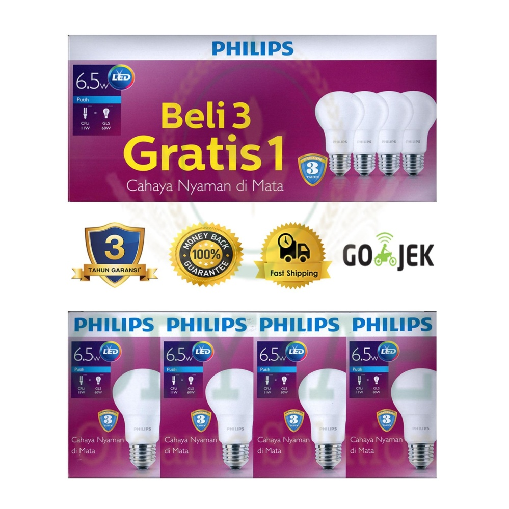 Bandingkan Toko Lampu LED bohlam Philips 6,5w/watt (7w/watt) beli 3 gratis 1 Putih sale - Hanya Rp113.870