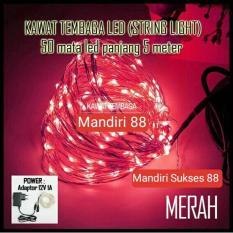 Lampu LED Hias Dekorasi - Lampu LED Kawat Tembaga RED Merah - Adaptor 12V - Panjang 5m