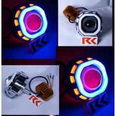 LAMPU LED PROJECTOR U8 DOUBLE AE + DE | PROJIE LED DAN AE COB | LED CREE MOTOR ANGEL EYE DAN DEVIL EYE