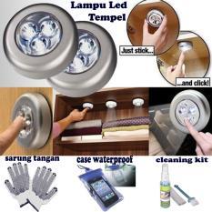 Lampu Led Tempel / Touch Lamp / lampu Lemari / Lampu Belajar / Gudang - Silver + Gratis Sarung Tangan + Case Waterproof + Cleaning Kit