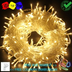 Lampu Natal LED Indoor & Outdoor - Lampu Tumblr/Natal Dekorasi Dan Lampu Hias 10 Meter warm white + Colokan Kabel Free ikat Rambut Klik to Buy - 1 Pcs