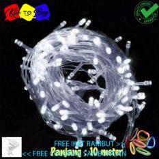 Lampu Natal LED Indoor & Outdoor - Lampu Tumblr/Natal Dekorasi Dan Lampu Hias white 10 Meter + Colokan Kabel Free ikat Rambut Klik to Buy - 1 Pcs