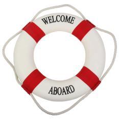 Landor Navy Accent Selamat Datang Selamat Datang Di Atas Dekorasi Kain Life Ring Buoy Room Decor